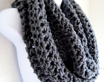 "Charcoal Gray Infinity Grey Cowl Extra Large Dark Gray Chunky Infinity Scarf ""BOGO""  ""Buy one get one 50% off lowest price"""