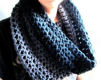 Infinity Scarf Cowl- Black and Charcoal Grey  Man Guy Scarf Extra Large Chunky Scarf