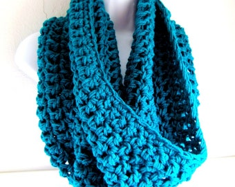 "Infinity Scarf Cowl- Teal Extra Large Chunky Scarf   ""Buy one get one 50% off lowest price"""