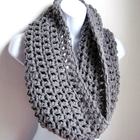"Grey Scarf Cowl-  Extra Large Chunky Infinity Scarf ""BOGO"""