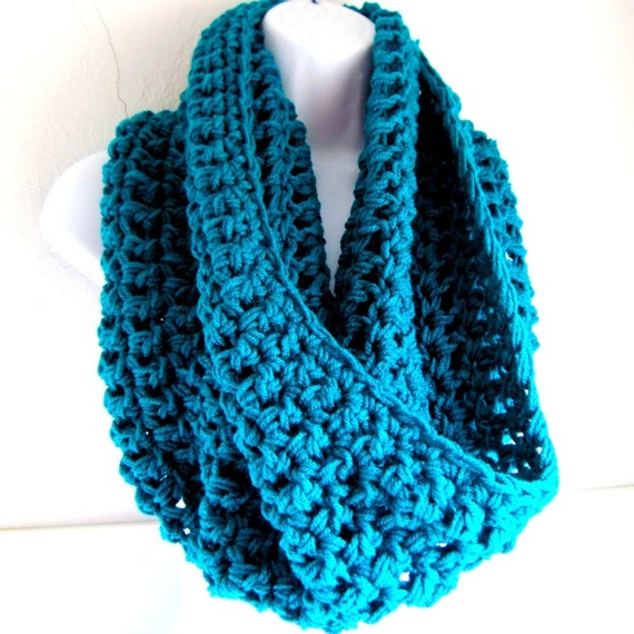 """Reserved for Charsie Infinity Scarf Cowl- Teal Extra Large Chunky Scarf   """"Buy one get one 50% off lowest price"""""""