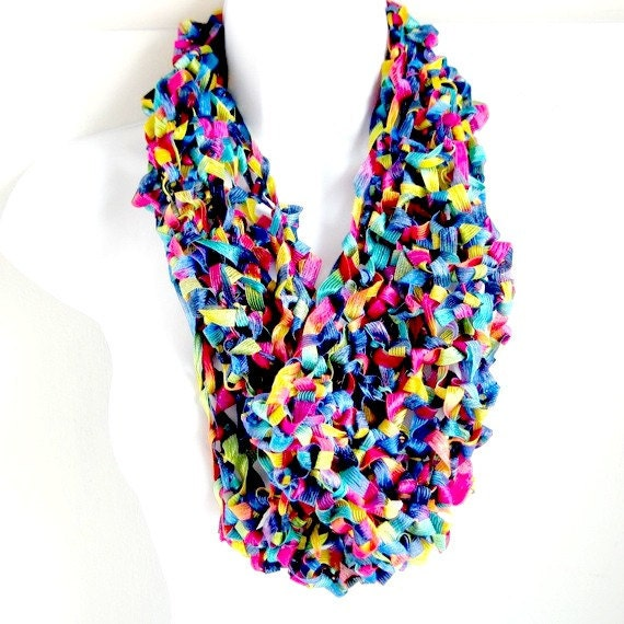 Infinity Scarf , Cowl, Ribbon Scarf,  Jewel Tones Light Weight, Multicolored, Bright, Blue, Yellow, Pink, Green