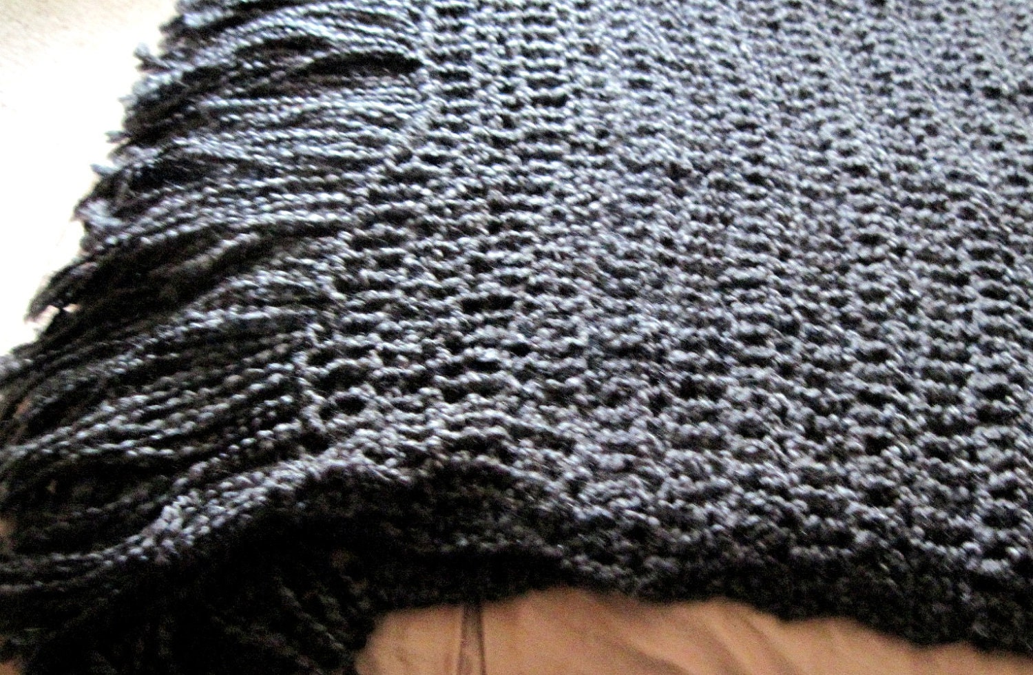 Crochet Queen Size Blanket : Black Throw Blanket Afghan with Fringe by JarvisDesignStudio