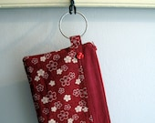 The Elvie Ring Clutch in Red and White Japanese Floral