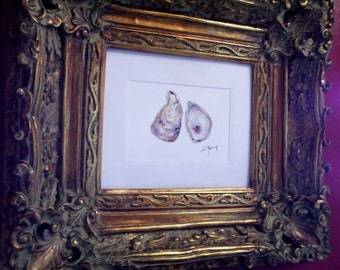 Botanical Oyster Print and Mat for an 8x10 Frame
