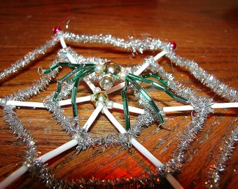Spider Web Glass Bead Christmas Ornament Gablonz