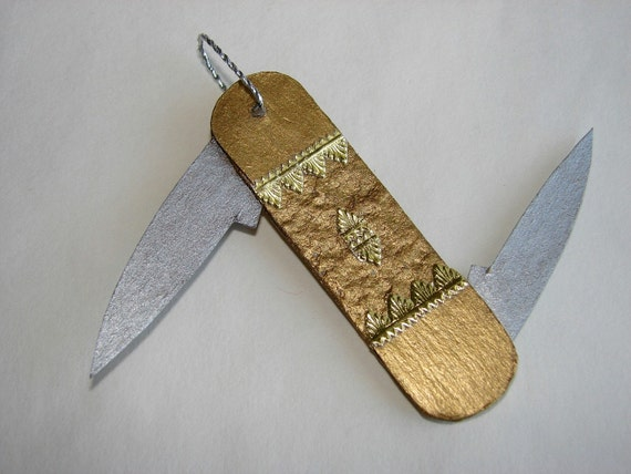 Pocket Knife Christmas Ornament German Dresden Style