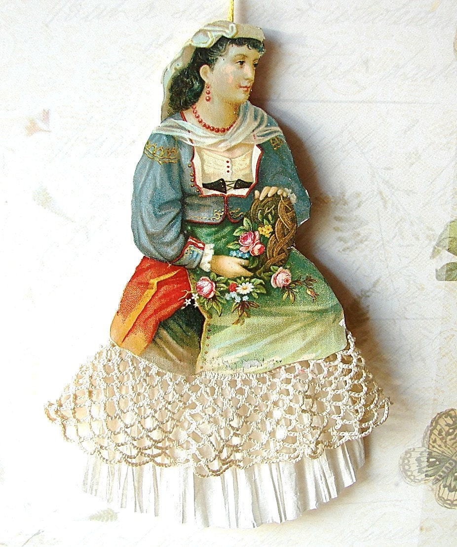 Victorian Christmas Decorations: Victorian Lady Christmas Ornament Paper By SaintNICHOLAStoo
