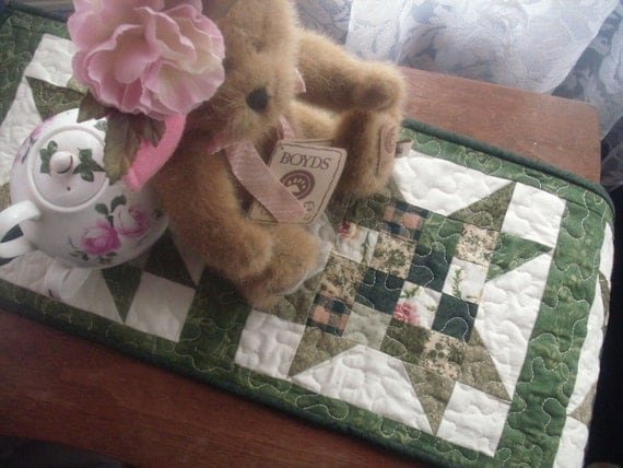 Green Scrappy Spring Sawtooth Star Quilted Table Runner or Wall Hanging