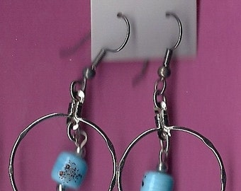 Sale - Ceramic Stilvertone Hoop Dangle Earrings