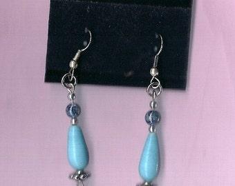 Sale - Blue Ceramic Dangle Earrings