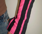 Black and Pink Stripe Arm Warmers