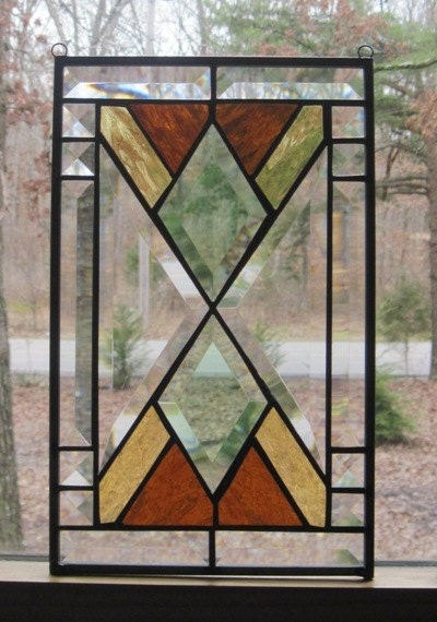 Stained Glass Panel Southwest Design In Amber And Green With