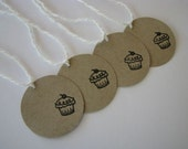 Tiny Brown Paper Tags - cute cupcakes