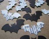 spooky mix - black cardstock and vintage dictionary bat cutouts