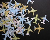 vintage map and atlas airplane cutouts