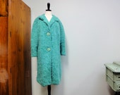 Vintage 1950s Mohair Sweater Coat Teal, Turquoise Blue Wool Hand Knit