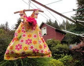 Clothespin Bag, Peg Bag, Little Flower Girl, Pink Rose, Grasshopper