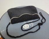 Vintage Black Glass Beaded Handbag, Beautiful Evening Purse 1970s