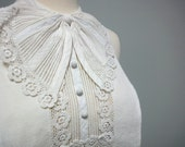 Lovely Antique 1930s Dickey Collar, White Cotton Pique, Lace, Big Bow