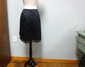 Vintage 1960s Vanity Fair Black  Mini Half Slip with Zipper and Lace