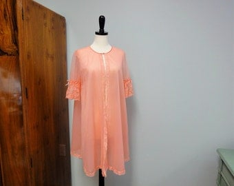 Coral Vintage Vanity Fair 1960s Double Chiffon Peignoir Robe, Sheer, Lace Sleeves, Size Small