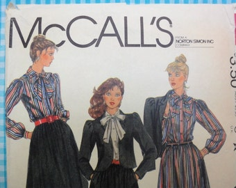 Vintage 1982 McCall's Sewing Pattern 8119, Jacket, Tie Blouse, Skirt Misses Size 12 Bust 34