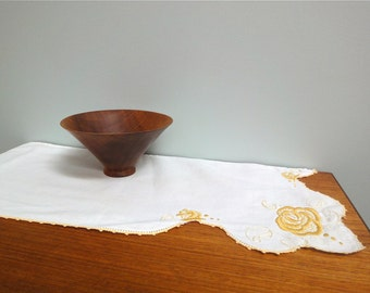 Vintage Linen Dresser Scarf. Arts &Crafts Style Embroidered Ochre Yellow Roses Antimacassar