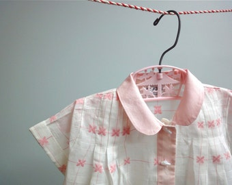 Heirloom Baby Girl Diaper Shirt in Cotton Organdy Window Pane Check Pink and White Infant Dress