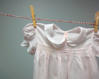 Delicate Pink Baby Dress, Fine Cotton, Smocking, Embroidery, Cut work, Yolanda Hand Made