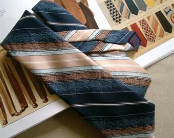 Mens Striped Necktie Vintage LASSO Brand Western Tie
