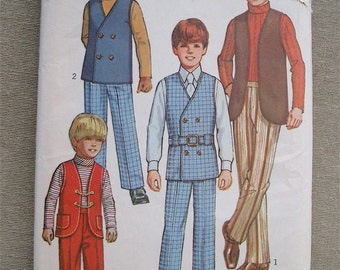 Vintage 1971 Simplicity Pattern 9336  Boys Shirt, Pants, Reversible Vests and Belt Size 6
