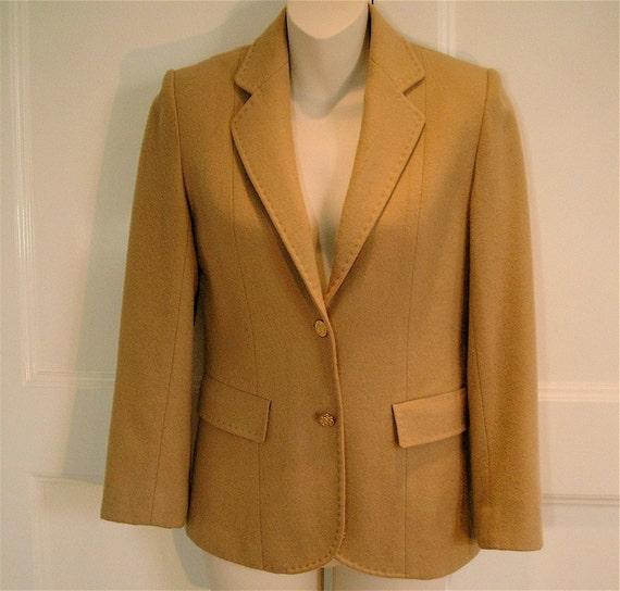 Vintage 1970s Nordstrom Camel Wool Blazer Jacket By