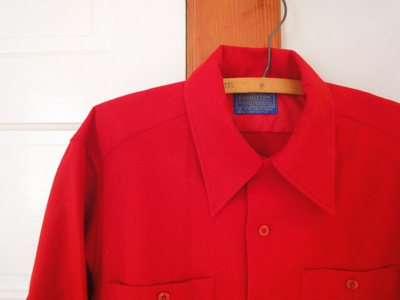 Vintage 1960 39 S Pendleton Mens Shirt Red Wool Collar Loop