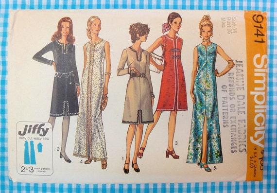 Vintage 1970 Mod Simplicity Pattern 9141 Slim  Sheath Dress with Front Slit Bust 36