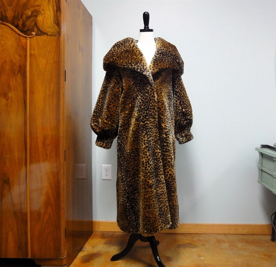Vintage Faux Leopard Fur Coat Long Thick With By StelmaDesigns