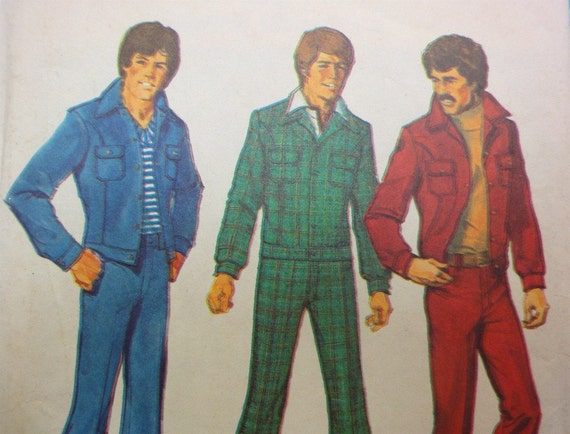 Vintage 1974 Simplicity Pattern 6593, Mens Flare Jeans, Jacket Size 36 Disco