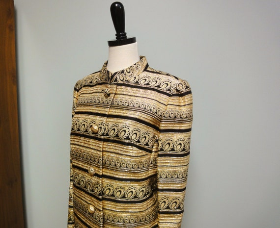 Vintage 80s Blazer, Glam Rocker Gold Metallic Jacket, Nehru Collar, Black and Gold, Kent Originals LTD