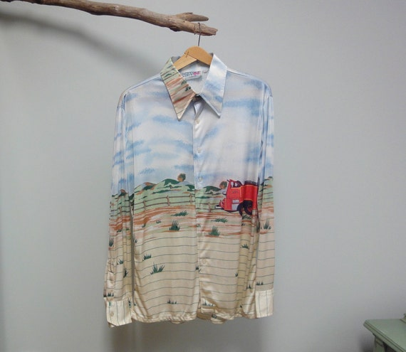 1970's HUK-A-POO Mens Nylon Shirt, Scenic Print, Fire Truck And Puppy