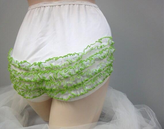 Vintage Lace Rhumba Panty, White Nylon Ruffle Panty, Green Lace Trim, Tennis 60s 70s