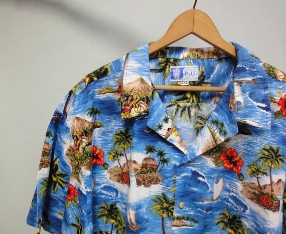 Vintage RJC Hawaiian Shirt, Rare 4XL Aloha Shirt Scenic Ocean, Palms Print