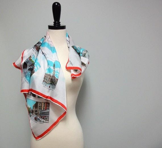 Vintage Souvenir Silk Scarf, Greetings From Australia 1960s