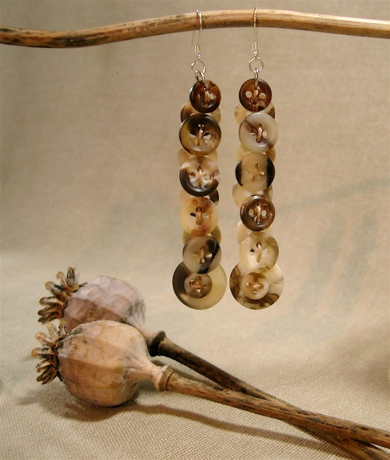 Faux Horn and Tortoise Dangle Earrings of Vintage Buttons