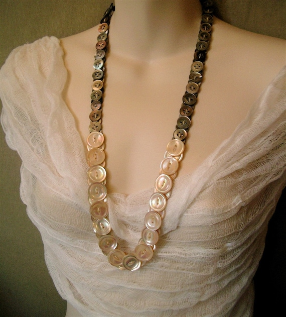 Button Necklace Handmade of Vintage Abalone and Mother of Pearl Buttons