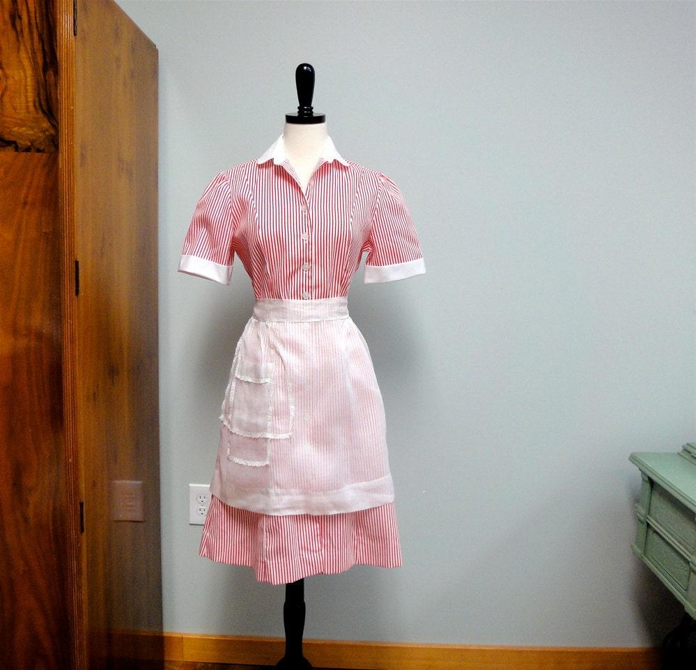 Vintage Waitress Dress or Candy Striper Uniform by StelmaDesigns