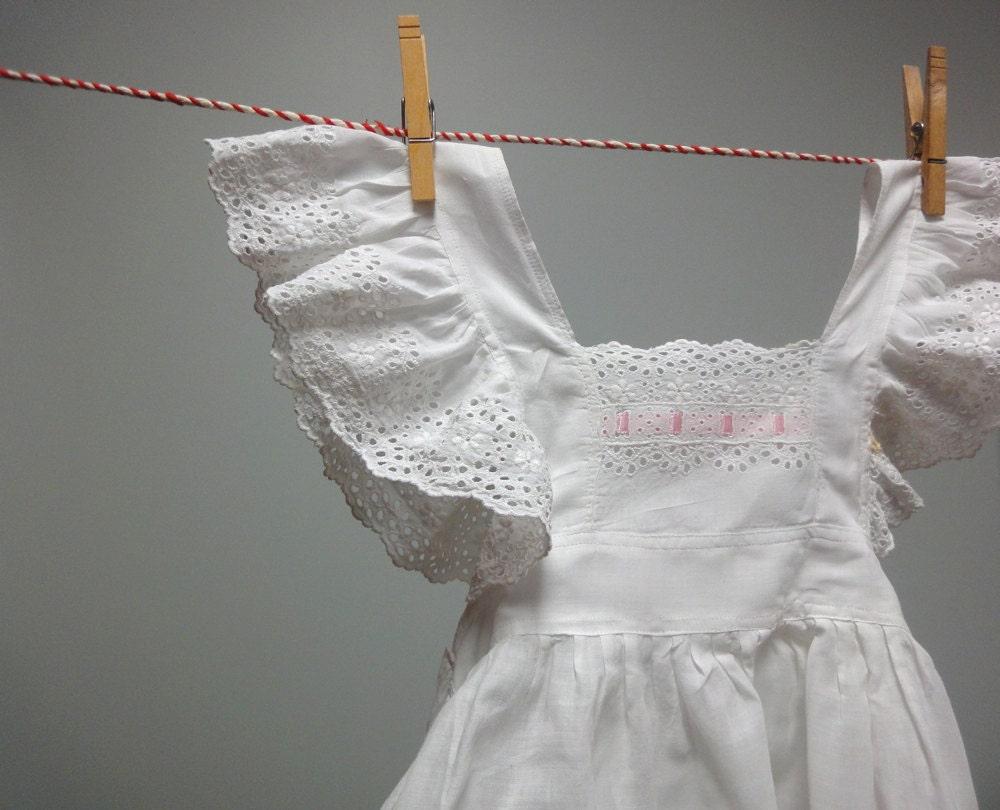 White eyelet apron -  White Eyelet Cotton Pinafore Dress Apron Zoom