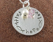 Faith Hope Love Sterling Silver Pendant with Ichthus