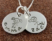 My Children -Stick Figure Name Pendant/Necklace-Sterling Silver or 14K Gold Filled-Two Stick Figure Children with Names-Jewelry for Mother