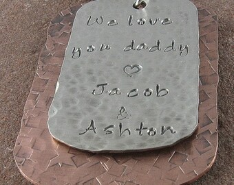 Necklace for Dad,Multi Metal Customized Dog Tag Jewelry in Sterling Silver and Copper/Father's Day