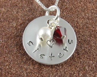 Sterling Silver Sisters Pendant with Swarovski Pearl and Birthstone Crystal